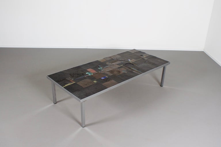 20th Century Impressive Brutalist Coffee Table by Pia Manu for Amphora, 1960s For Sale