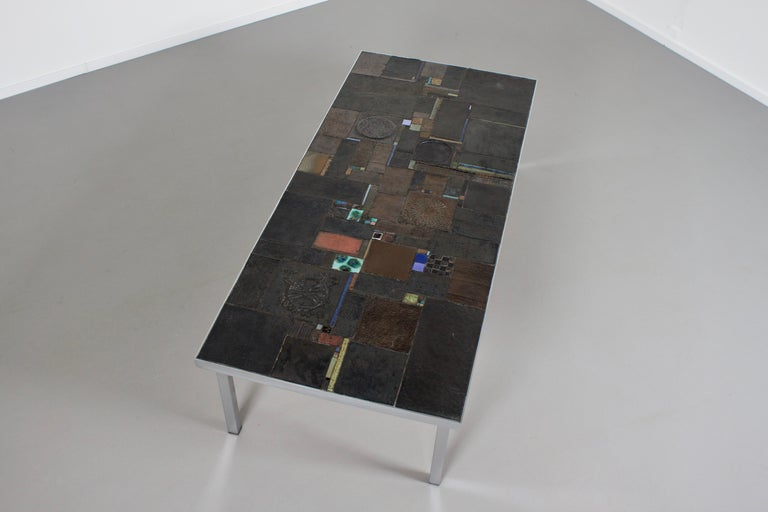 Impressive Brutalist Coffee Table by Pia Manu for Amphora, 1960s For Sale 1