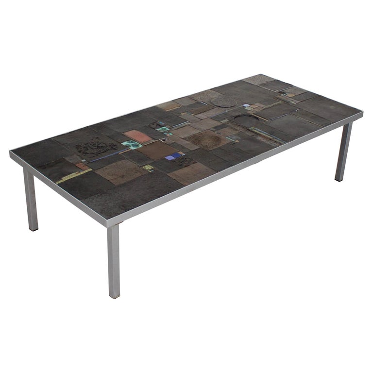 Impressive Brutalist Coffee Table by Pia Manu for Amphora, 1960s For Sale