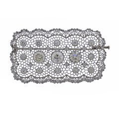 Impressive Buccellati Honeycomb Diamond Gold Large Brooch Pin