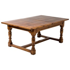 Impressive Beautifully Crafted Burled Walnut Refectory Dining Table