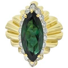 Cartier 1970s Vintage Tourmaline Diamond 18 Karat Yellow Gold Ring