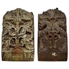 Impressive Carved Teak Decorative Blocks, 20th Century