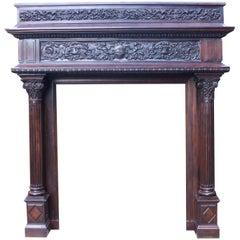 Impressive Carved Walnut Renaissance Style Chimneypiece