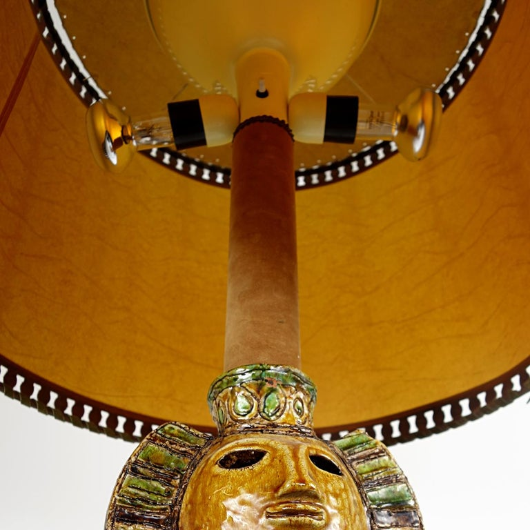 Impressive Ceramic Floor or Table Lamp in Mystic and Majestic Mayan Style For Sale 4