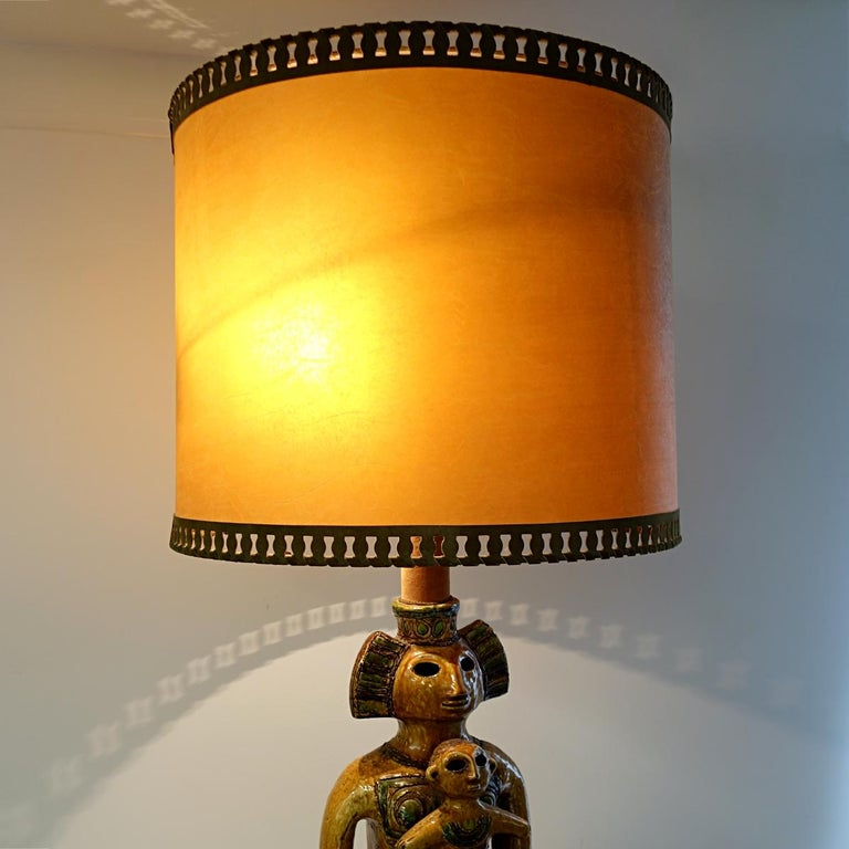 Impressive Ceramic Floor or Table Lamp in Mystic and Majestic Mayan Style For Sale 6
