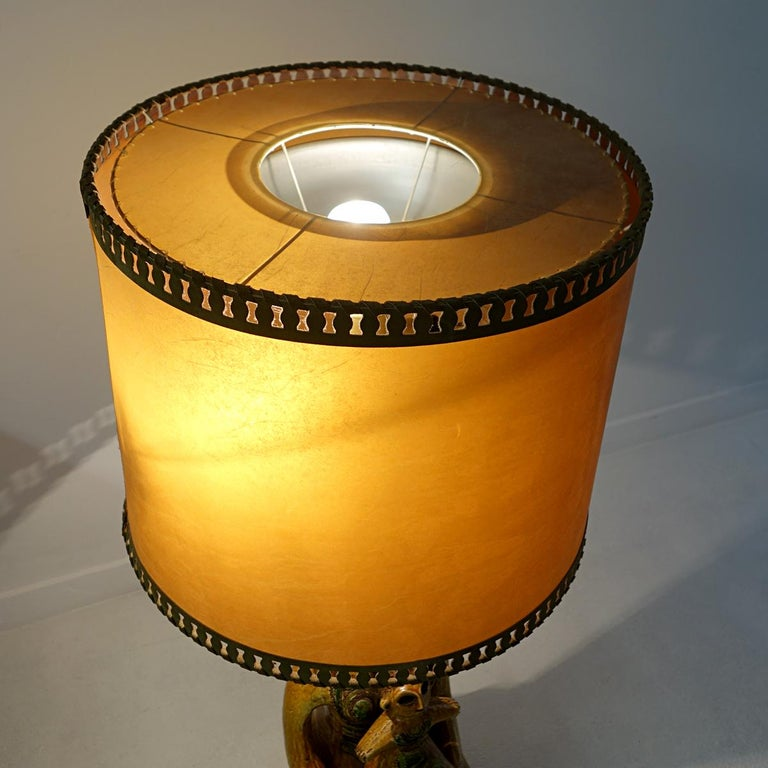 Impressive Ceramic Floor or Table Lamp in Mystic and Majestic Mayan Style For Sale 7