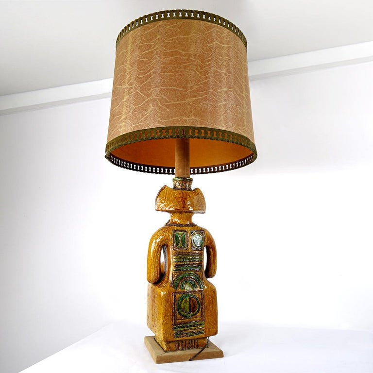 Folk Art Impressive Ceramic Floor or Table Lamp in Mystic and Majestic Mayan Style For Sale