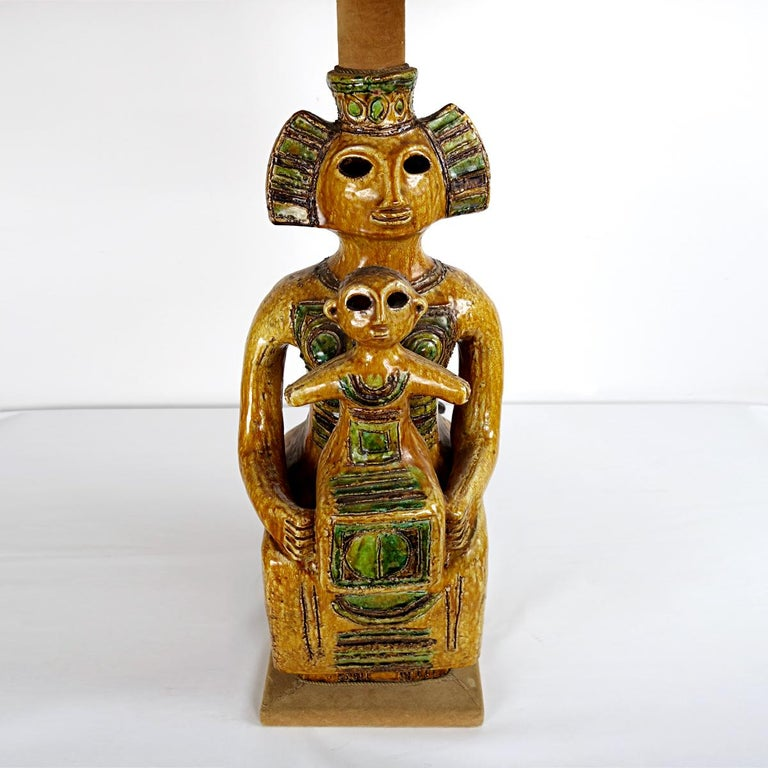 Italian Impressive Ceramic Floor or Table Lamp in Mystic and Majestic Mayan Style For Sale