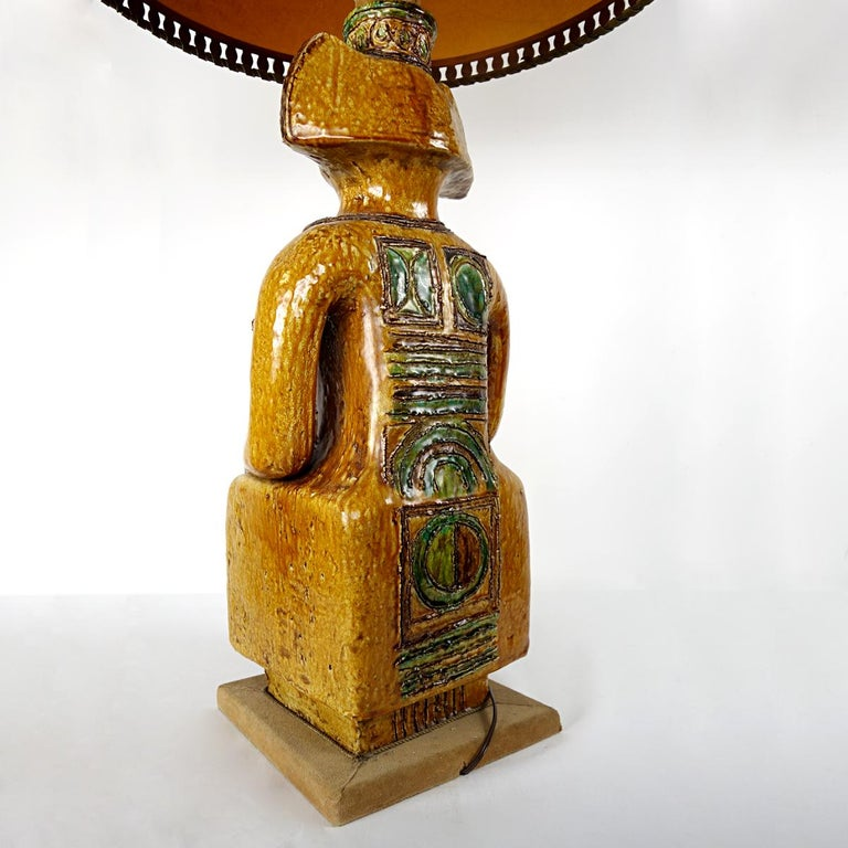 20th Century Impressive Ceramic Floor or Table Lamp in Mystic and Majestic Mayan Style For Sale