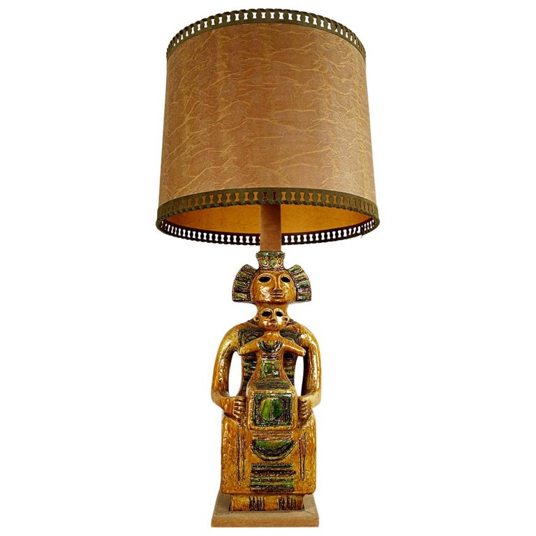 Impressive Ceramic Floor or Table Lamp in Mystic and Majestic Mayan Style For Sale