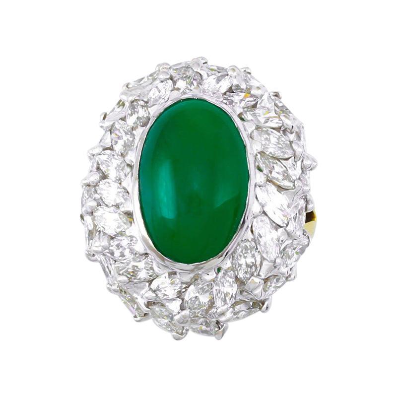 Impressive Certified Natural Imperial Green Jadeite Jade & Diamond Estate Ring