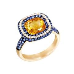 Impressive Citrine Blue Sapphire Diamond Yellow Gold 18 Karat Ring