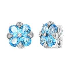 Impressive Clear Blue 21 Carat Topaz 18 Karat Gold Clip-On Earrings