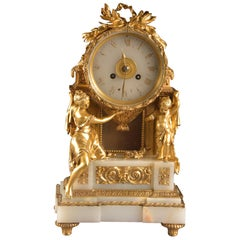 Impressive Clock, Image of a Beautiful Woman and Cherub Carrying a Clock
