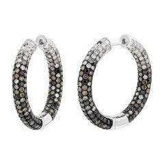 Impressive Cognac Diamond White Gold Hoop Earrings