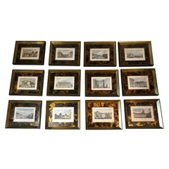 Impressive Collection of 14 Antique Framed and Hand Colored Bookplate Engravings
