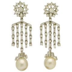 Impressive Dangle Chandelier South Sea Pearl and Diamond Earrings