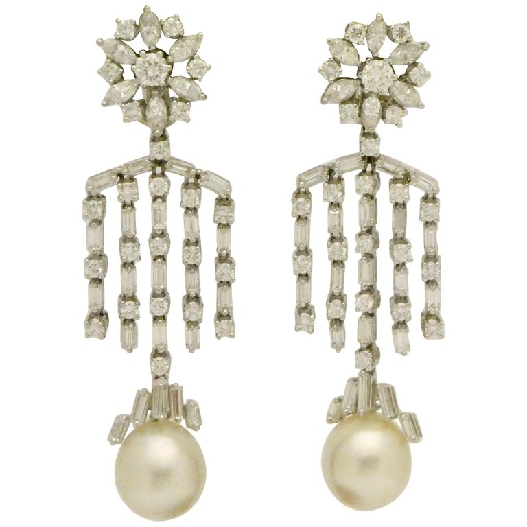 Impressive Dangle Chandelier South Sea Pearl and Diamond Earrings For Sale