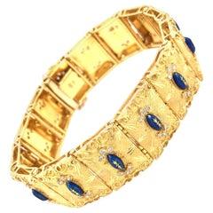Impressive Diamond and Enamel 18 Karat Gold Bracelet