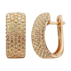 Impressive Diamond Pink Gold Lever, Back Earrings