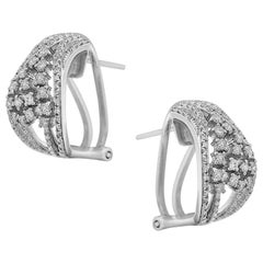 Impressive Diamond White Gold Lever Back Earrings
