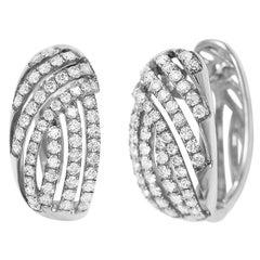 Impressive Diamond White Gold Lever-Back Earrings