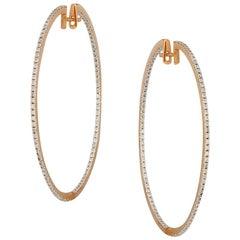 Impressive Diamond Yellow Gold Hoop Earrings