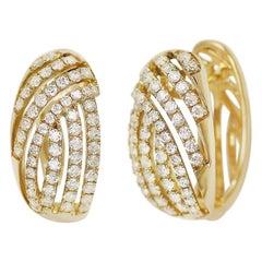 Impressive Diamond Yellow Gold Lever-Back Earrings