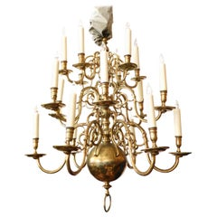 Impressive Dutch Three-Tier Brass 18-Light Chandelier