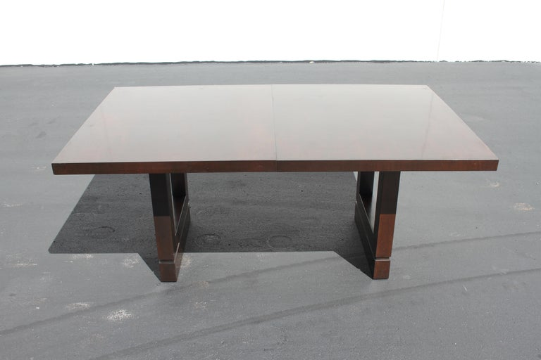 This is want I believe to be a rare Edward J. Wormley for Dunbar dining table, circa 1950, from one owner estate. Since it's not marked, but came from an original estate where all matching dining room items were marked Dunbar, I have to say