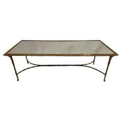 Impressive & Elegant Rectangular Burnished Brass & Mirrored Coffee Table
