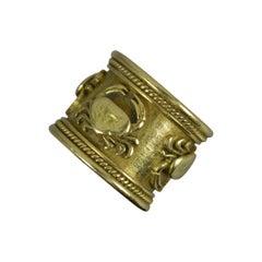 Impressive Elizabeth Gage 18ct Gold Crab Zodiac Sign Band Ring