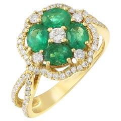 Impressive Emerald Diamond Yellow Gold Ring