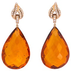 Impressive Faceted Amber Diamond and Gold Drop Earrings by Michael Kanners