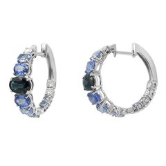 Impressive Fancy Blue Sapphire Diamond White Gold Hoop Earrings