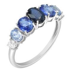 Impressive Fancy Blue Sapphire Diamond White Gold Ring