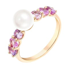 Impressive Fancy Pearl Pink Sapphire Diamond Pink Gold Ring