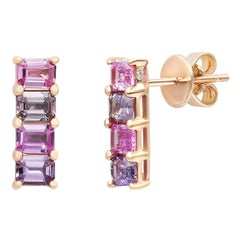 Impressive Fancy Pink Sapphire Diamond Pink Gold Earrings