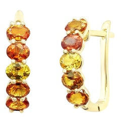 Impressive Fancy Yellow / Orange Sapphire Diamond Yellow Gold Earrings