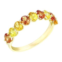 Impressive Fancy Yellow / Orange Sapphire Diamond Yellow Gold Ring