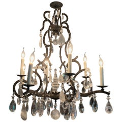 Impressive Farmhouse Chic Large Wrought Iron and Crystal Adorned Chandelier