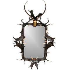 Impressive Figural Stag Head Mirror Garnished with Faux Antlers & Tusks