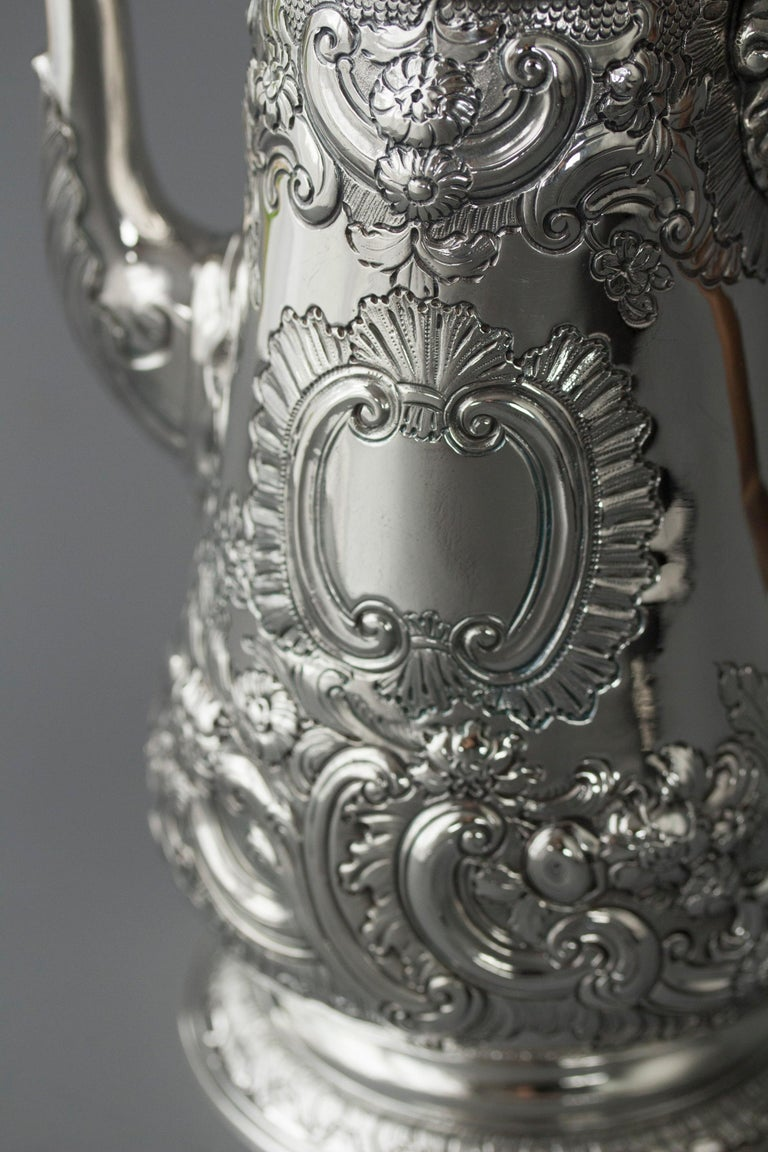 Impressive George II Silver Coffee Pot, London 1751 For Sale 5