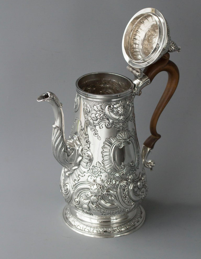 English Impressive George II Silver Coffee Pot, London 1751 For Sale