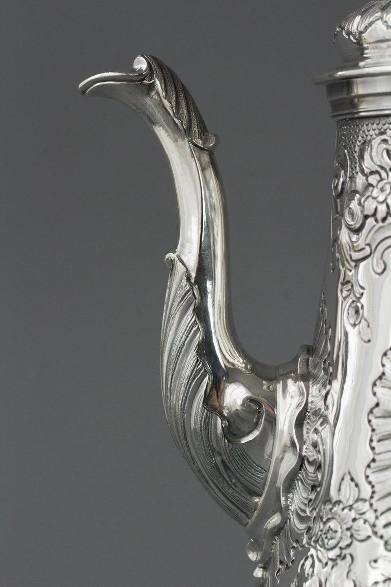 Impressive George II Silver Coffee Pot, London 1751 For Sale 3
