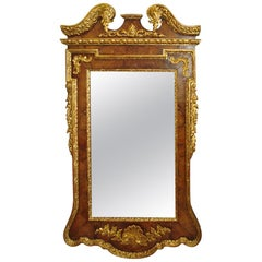 Impressive George II Walnut and Parcel-Gilt Wall Mirror