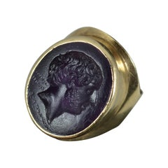 Impressive Georgian Purple Glass Intaglio Yellow Gold Signet Ring