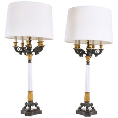 Impressive Gilt Bronze / Art Glass Candelabras Pair Lamp
