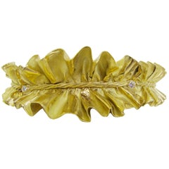 Impressive Gold Ruff Choker by Anna Maria Cammilli, Late 1970s-1980s